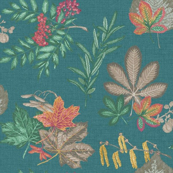 Leaves Mulberry Teal Wallpaper 98480