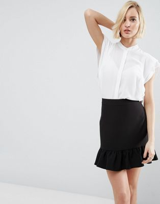 ASOS White Blouse with Frill Shoulder