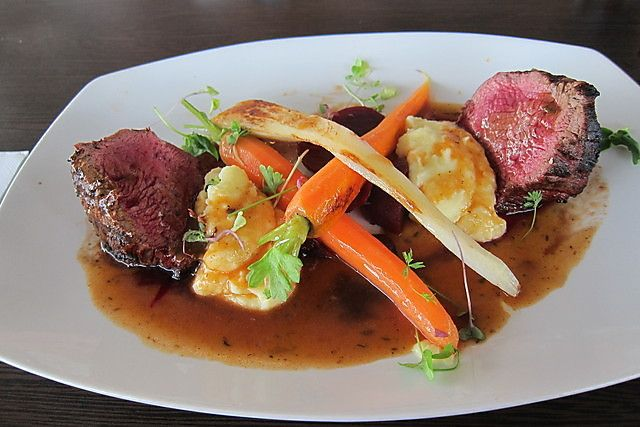 Scotch Fillet w/ Red Wine Jus, Roast Vegetables, Potato Mash - Lakehouse Restaurant, Maribyrnong