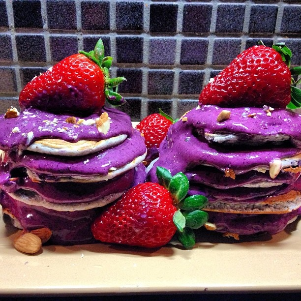 Blueberry banana protein pancakes topped with blueberry raspberry ...