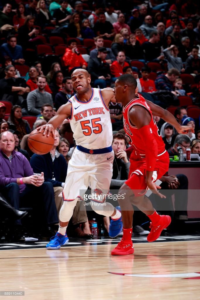 Jarrett Jack #55 of the New York Knicks handles the ball against the Chicago Bulls on December 9, 2017 at the United Center in Chicago, Illinois.