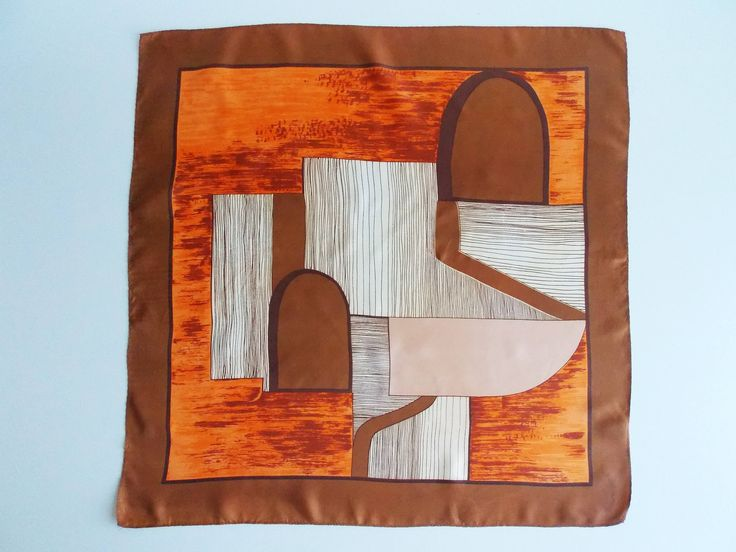 Adorit vintage abstract scarf, brown and orange headscarf, 70's scarf, womens neckerchief, square scarf, Mad men headscarf, 25 inches, no 16 by Lafriperievintage on Etsy