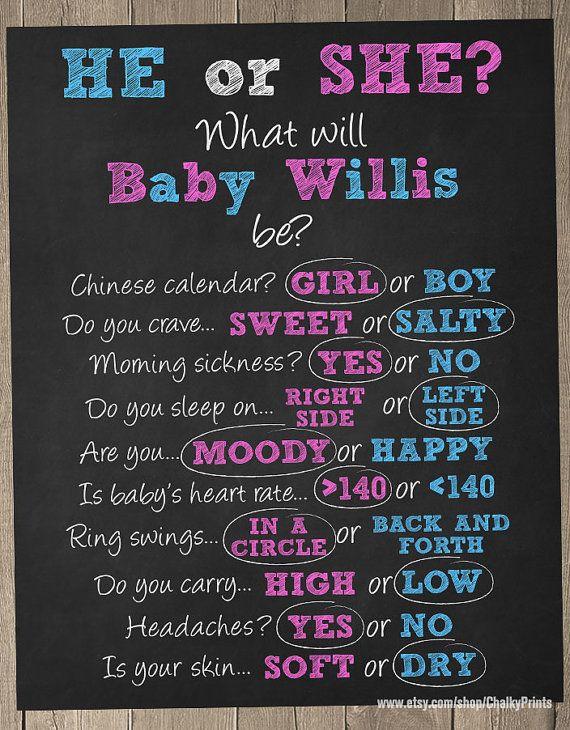 Old Wives Tales Chalkboard, Gender Reveal Ideas, Gender Reveal Baby Shower, Baby Shower Games Printable