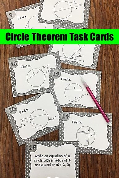 Geometry Circle Theorems Task Cards for middle school or high school students.