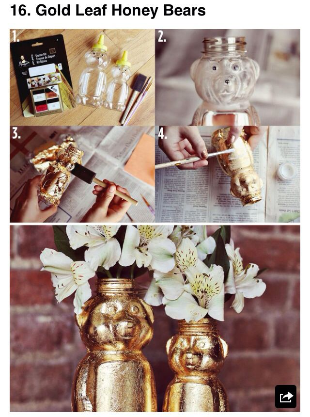 DIY use gold foil to decorate honey jar