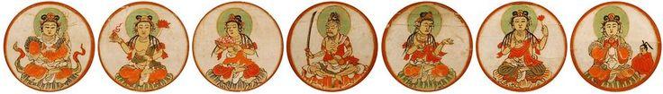 Seven Celestial Maidens in Southern Cluster, Genzu Mandala 現図曼荼羅 Shingon Sect of Esoteric Japanese Buddhism. Source: Museum Reihokan Koyasan (J-Site, Shingon)