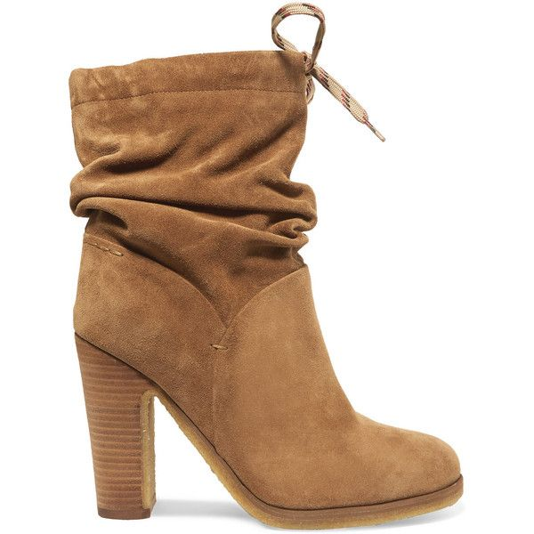 See by Chloé Suede ankle boots ($395) ❤ liked on Polyvore featuring shoes, boots, ankle booties, lace up bootie, suede ankle boots, high heel booties, beige suede booties and suede slouch boots
