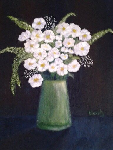 Small still life of white flowers.