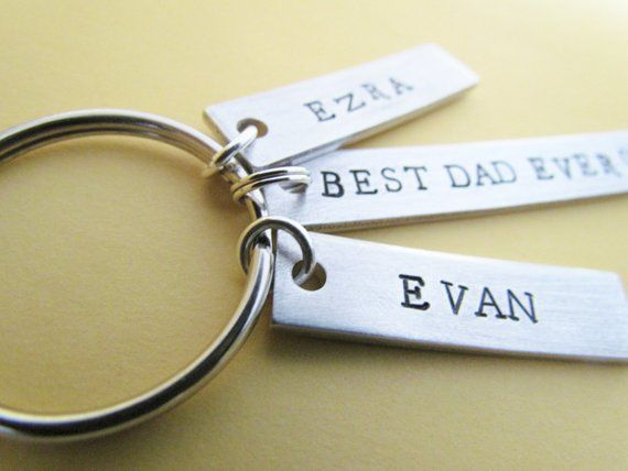 Key Chain Best Dad Ever Plus 3 Name Tags Hand Stamped