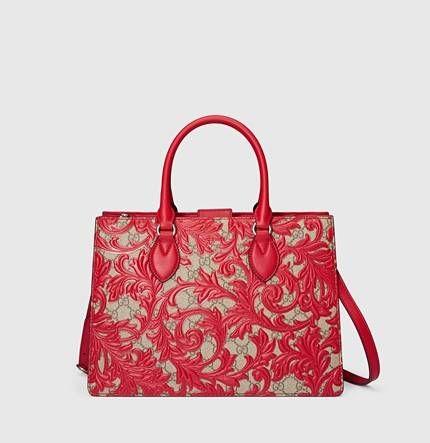 Handbag Arabesque - Borse Gucci Primavera/Estate 2016: modello in tessuto con decori in rosso