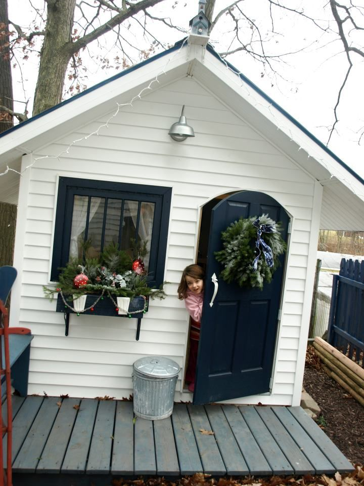 playhouse. Add a deck or porch to girls' playhouse?