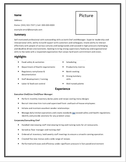 The 25+ best Chef resume ideas on Pinterest Cv design - cook resume examples