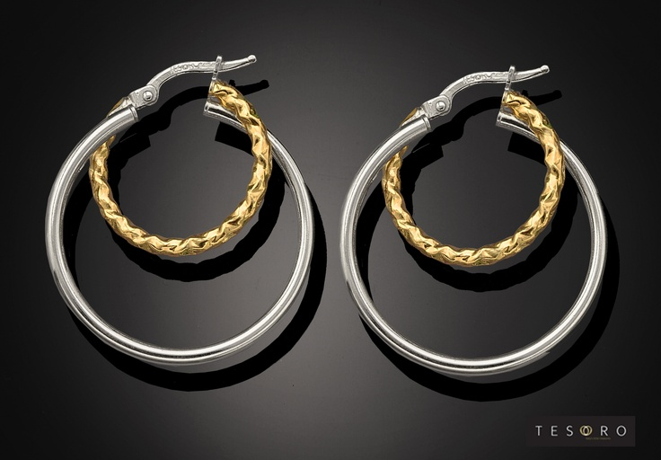 Tesoro Sterling 925 Silver Earring GV373/925E   Small Yellow silver textured with Polished Silver   RRP - $85.00