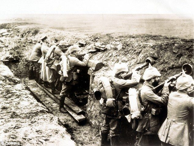 Trench warfare on the Marne German gun position, Marne, France during World War I