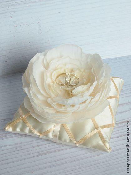 "Подушечка для колец ""Сладкая роза"" - подушечка на свадьбу,подушечка для колец"