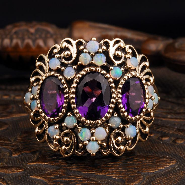 Antique Genuine 1.85ct Amethyst/Solid Opal Real 9k Yellow Gold Vintage Ring