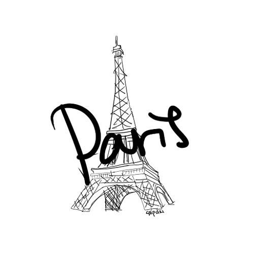 eiffeltoren tekening | cute, drawing, eiffel tower, paris, words | Paris oh la la ...