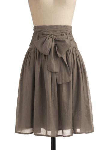 In Tandem Skirt in Slate - Grey, Solid, Bows, Casual, A-line, Spring, Summer, Fall, Long