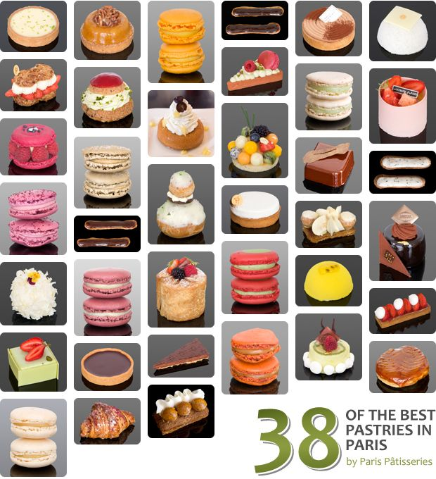 The 38 best pastries in Paris as wittily determined and beautifully photographed by Paris Patisseries - click on the link to see all of the pastries close up - stunning!!