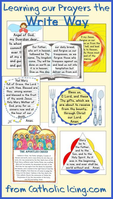 Teach Catholic kids their prayers with copy work. Prayers available in a