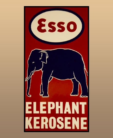 Enamel Sign board of Esso Elephant Kerosene.  Manufactured by stretching & cutting of metal treated in acid baths.  Hand tooling using hammers, rollers & drills.  Sprayed with a ground coat & dried up in hot kilns. _________________________________________________ #doyouknow #enamelsign #vintage #vintagecollection #heritage #transportmuseum #museum #incredibleindia #exhibit