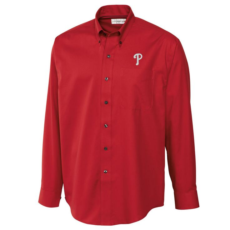 Philadelphia Phillies Cutter & Buck Big & Tall Epic Easy Care Fine Twill Long Sleeve Shirt - Red