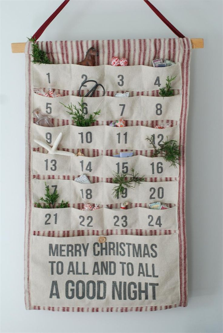 Vintage Style Fabric Advent Calendar with Pockets