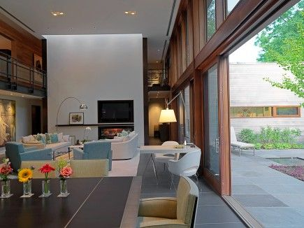 cool sliding: Bathroom Design, The Doors, Fireplaces Mantles, Architects, Living Rooms, Woodvalley Houses, Houses Interiors, Contemporary Living, Sliding Doors