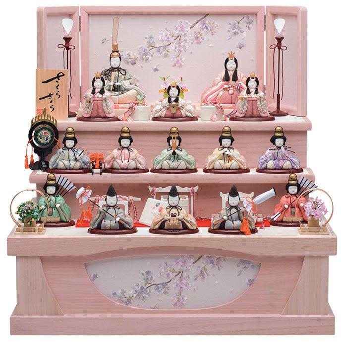 Rakuten: Kimekomi dolls dolls popular one Su 3 ferrochrome storage ornament compact Sakura Sakura series 十五 people decorate ( 3 bunching Kin...