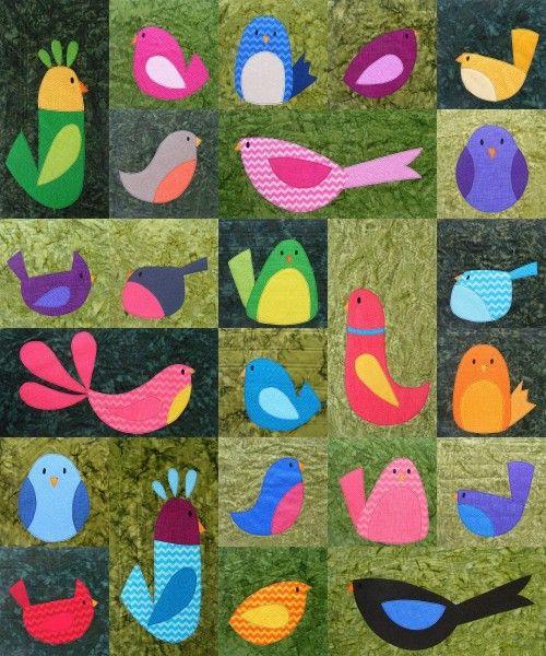 Bird Quilt Pattern from Shiny Happy World