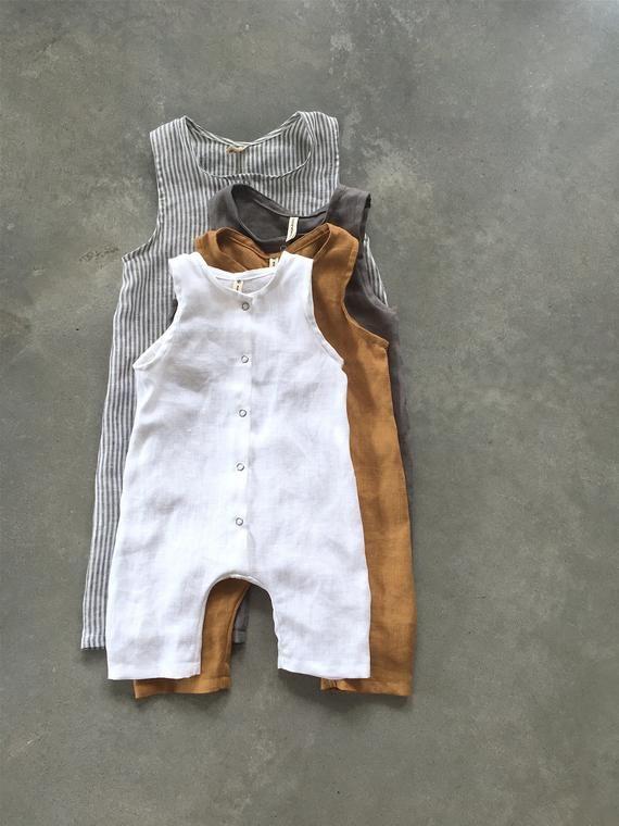 8b6b43520f071 Linen romper, white baby romper, linen overalls, summer romper ...