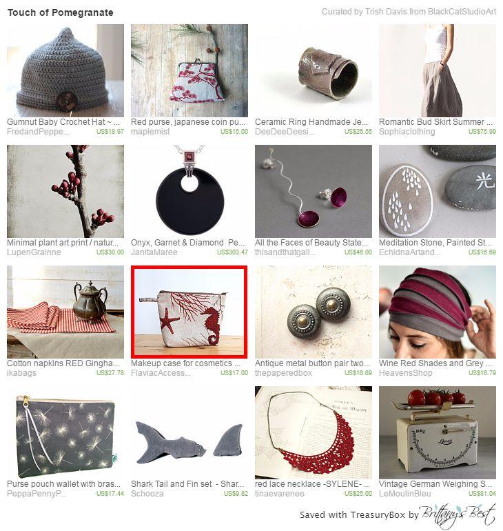 https://www.etsy.com/treasury/MTczNzk2OTh8Mjg2NDkxMjA4NQ/touch-of-pomegranate     Pomegranate color and gray, an elegant combination. Thank BlackCatStudioArt of Etsy.com.