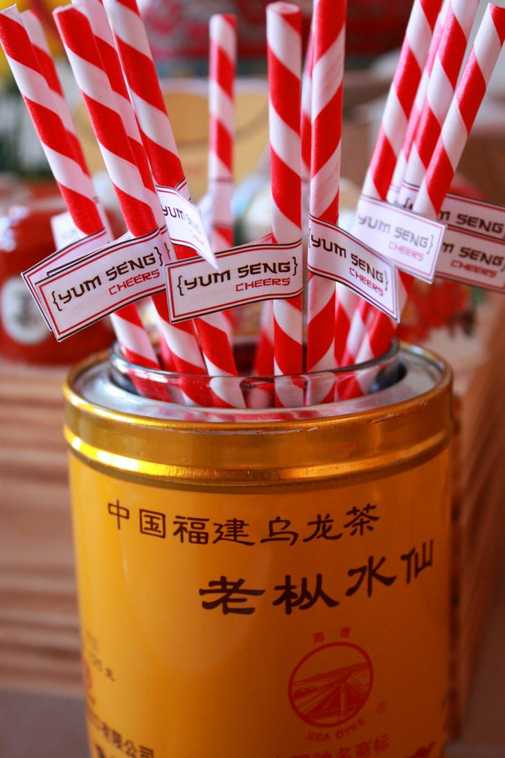 Chinese Dinner Party Ideas Part - 37: Affordable Chinese New Year Party Happy Straws Use Tea Tins To Display  Pocky Sticks With Asian Party Ideas