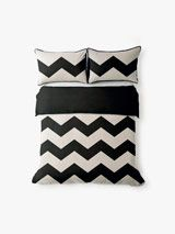 AURA Chevron Grande Quilt Cover Set in Black, available at Forty Winks