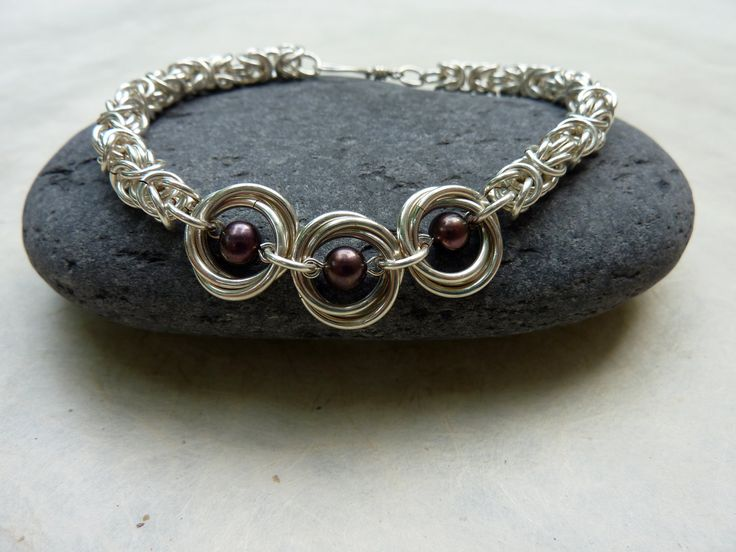 Purple Pearl and Silver Chainmaille Bracelet -- Mobius and Byzantine Weaves -- Handmade Jewelry. $60.00, via Etsy.