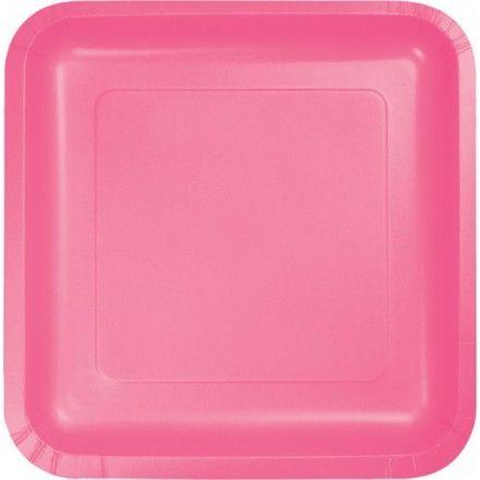 kleine quadratische Papp Tellerideale Größe für Desserts, Kuchen, Beilagen, Salate oder FingerfoodFarbe: Bonbon RosaGröße: 18 x 18 cmInhalt: 18 StückUnterseite ist weiß