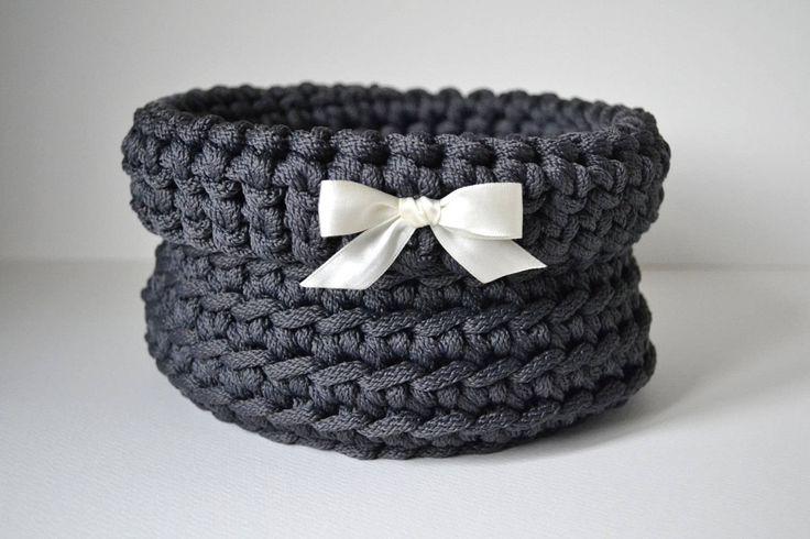 Dark gray basket, handmade basket, rope crochet basket, storage basket, home decor by iKNITSTORE on Etsy