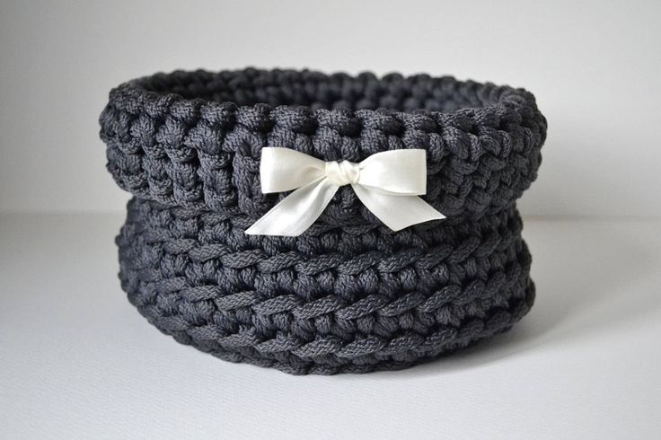 Dark gray basket, handmade basket, rope crochet basket, storage basket, home decor by iKNITSTORE on Etsy