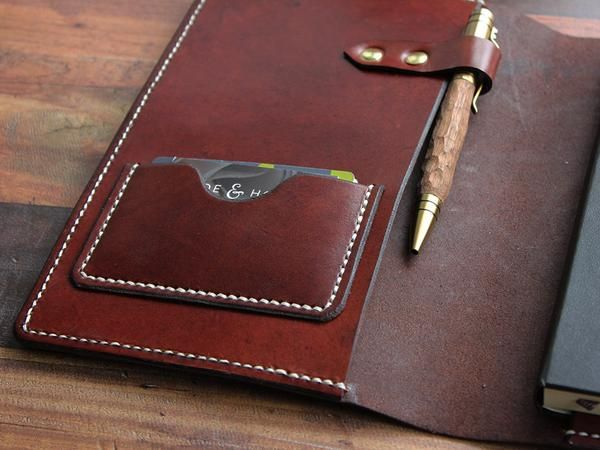 A5 Leather Notebook Cover - Brown - Hide & Home - 4