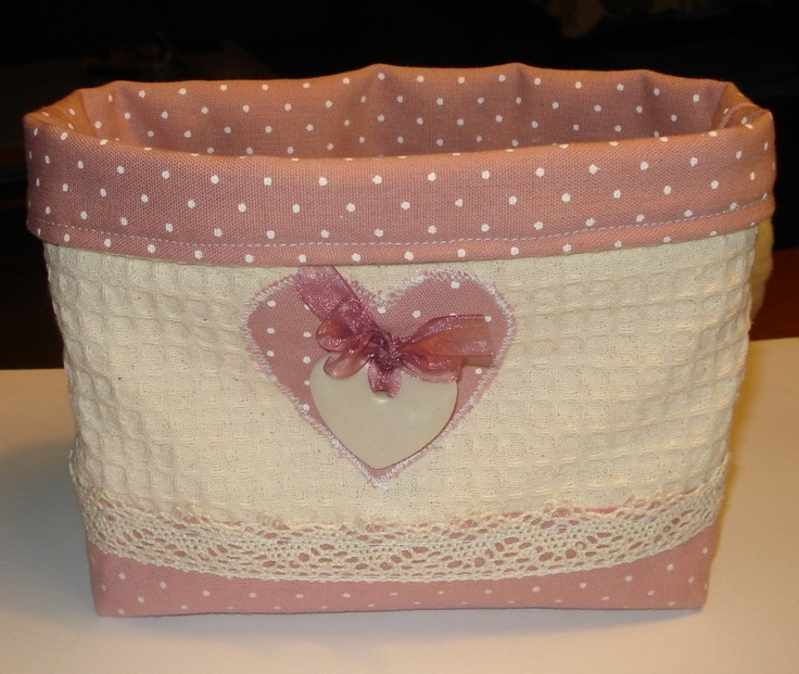 pink polka dot and lace basket
