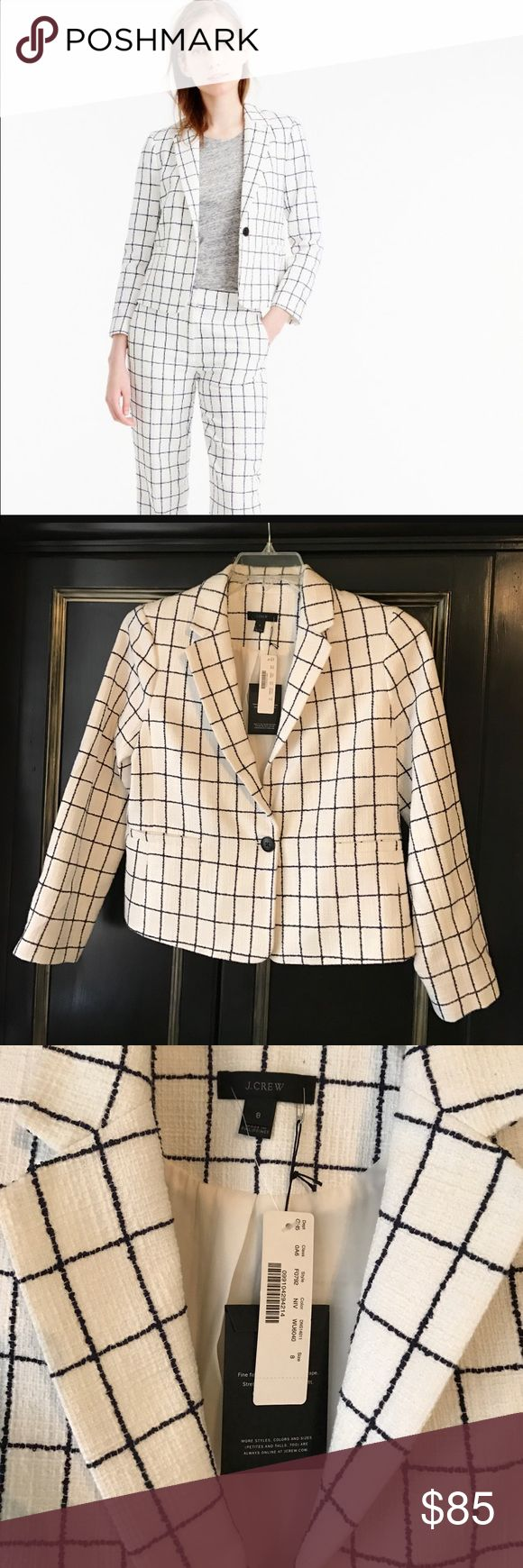 NWT JCrew windowpane tweed blazer jacket sz 8 Sold Out in Stores! This shrunken (meaning perfectly fitted) jacket features a modern windowpane-printed cotton tweed fabric that has the perfect amount of texture. Cotton/poly/viscose. Standing collar. Functional buttons at cuffs. Back vent. Lined. Dry clean. Import. Select stores.Also in petite. Item F0792. J. Crew Jackets & Coats Blazers