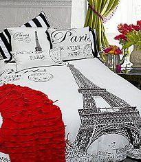 Teen girl bedroom ❤️ Large Eiffel Tower Black/White print mixed with Paris and Bold Stripe Pillow