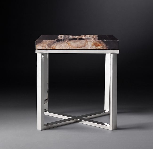 1970s Petrified Wood Slab Square Side Table With Images Square Side Table Wood Slab Side Table