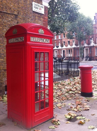 The iconic K2 telephone kiosk and pillar box, Maida Vale, London.