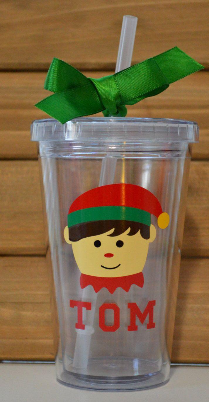 Personalized Christmas Tumbler Boy Elf by TwinMomDesignStudio on Etsy https://www.etsy.com/listing/491036739/personalized-christmas-tumbler-boy-elf