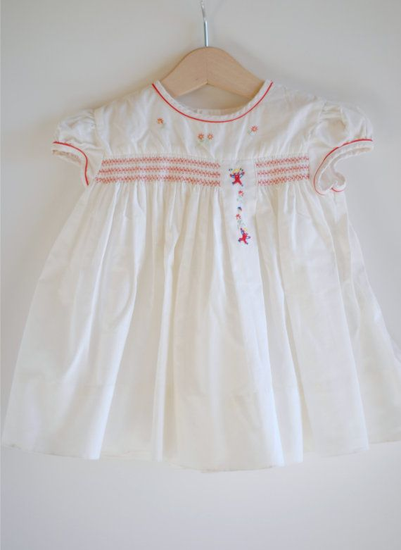 Vintage 1950's Baby Girl Dress - White with Red Smocking ...