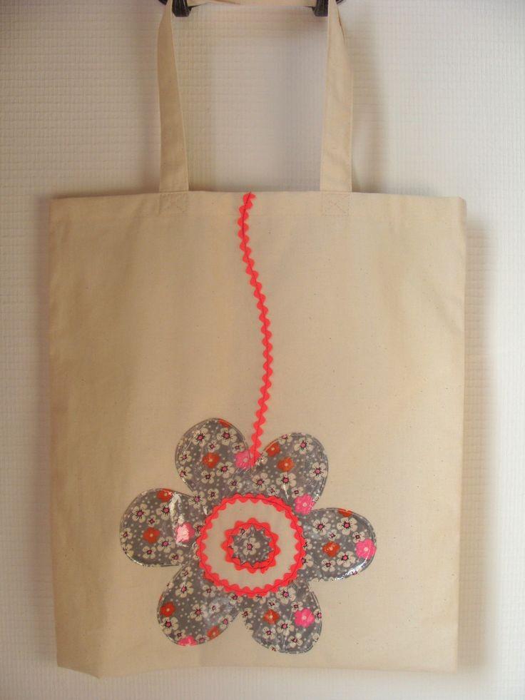 """Sac """"tote"""" toile coton brut écru décoré fleur : Autres sacs par les-p-tites-cueillettes"""