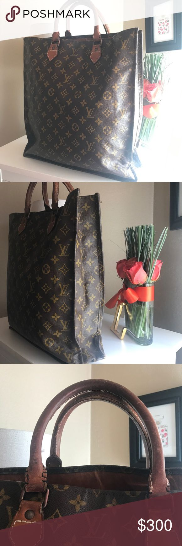 Louis Vuitton Tote Bag Vintage LV Tote : wear on bottom edges of bag Cow hide lining of purse. Please review ALL pics before buying Louis Vuitton Bags Totes