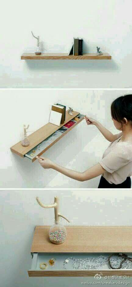Cute floating shelf with drawer