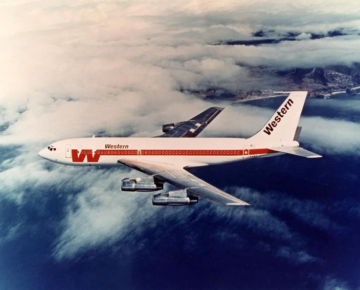 Western Airlines Boeing 720-047B N3157 in a promotional image, circa 1973. (Photo: Western Airlines)
